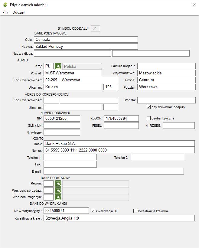 Edycja danych oddziału firmy