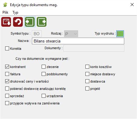 Dane pomocnicze - typy dokumentów magazynowych